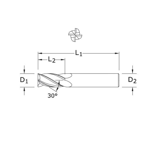 1//32 Cutting Diameter Uncoated 1//8 Shank Diameter 1-1//2 Length SGS 30503 5 3 Flute Square End General Purpose End Mill 5//64 Cutting Length