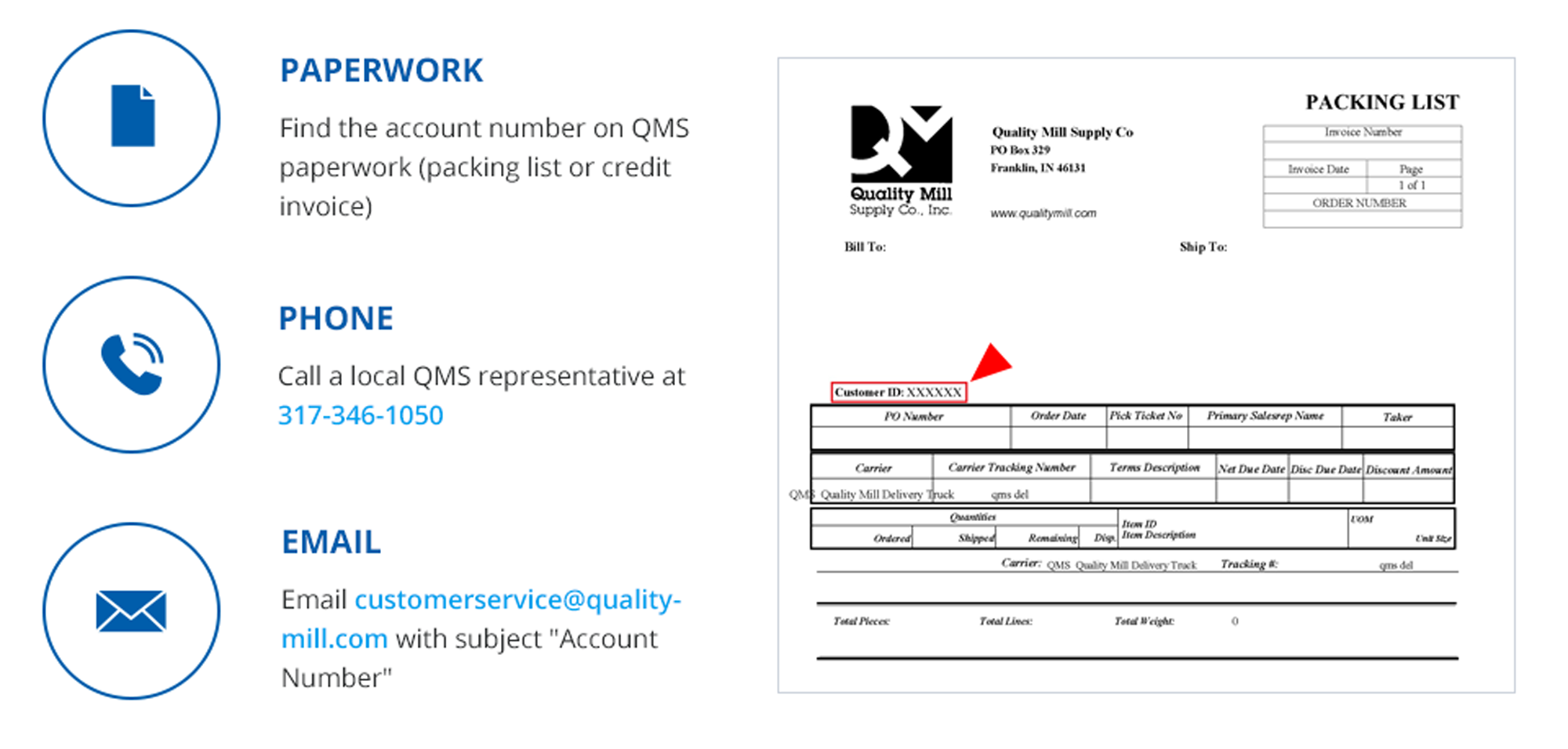 How to Find Your QMS Account Number | Quality Mill Supply